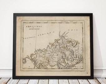 Kentucky map art etsy kentucky map antique map art print 1816 archival reproduction publicscrutiny Images