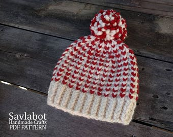 beanie knitting pattern - mock rib knit beanie - knit pattern - pom pom beanie - pdf pattern - hat - chunky knit beanie pattern no. 18