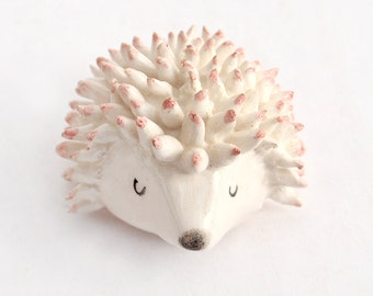 Ceramic Miniature Hedgehog Shaped in White Clay and Decorated with Pigments in Pink. Artisan Ceramic. Handmade. Made To Order