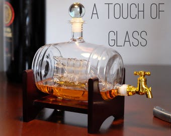 Ship in a Barrel Glass Whiskey decanter