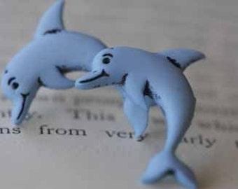 Flipper Dolphin Stud Post Earrings