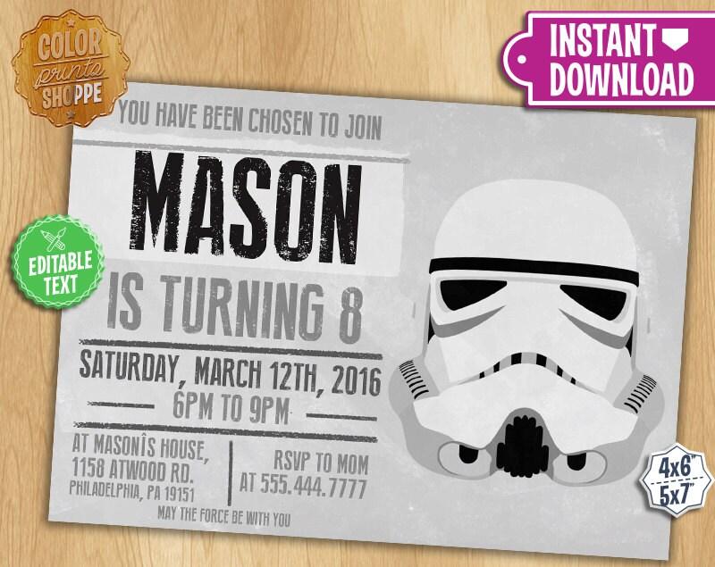 Star wars invitation editable text stormtrooper zoom stopboris Choice Image