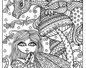 Fairy and Dragon Instant download Adult coloring fantasy art Coloring page
