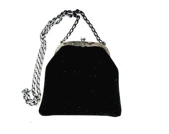 Antique Rough Leather Handbag, Black Shoulder Bag, Vintage Ladies Purse, Kiss Lock Clasp, Metal Chain