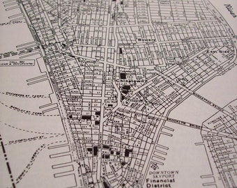 1944 Map New York City Lower Manhattan - Vintage Antique Map Great for Framing