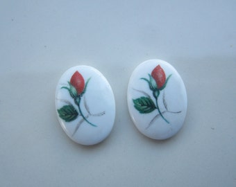 Vintage White Glass Cabs With Red Rose Bud 18x13mm 2Pcs.