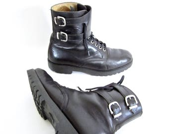 vintage 1990s black leather ITALIAN work boots MOTORCYCLE biker double buckle strap lace up mens 9 womens 10 10 1/2 STREET style rock n roll