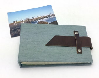 Mini Photo Album with Sleeves for 4x6 Photos Steel Gray Canvas and Leather / In Stock
