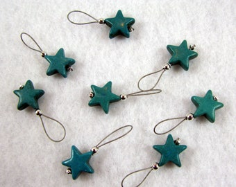 Howlite Gemstone Turquoise Star Stitch Markers - Set of 8 - US 10 - Item No. 1108