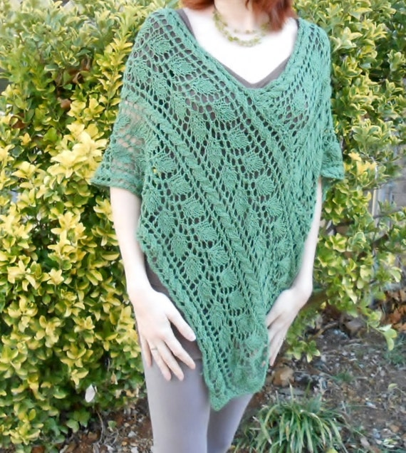 knit poncho pattern, leaf greenery lace poncho pattern, v-neck ...