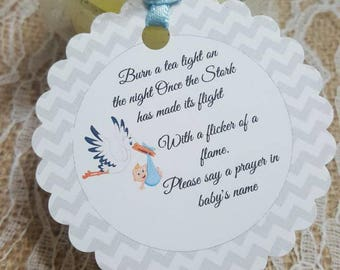 """Personalized Favor Tags 2.5"""",  Thank You tags, Favor tags, Gift tags, baby poem, candle, tea light baby shower poem"""