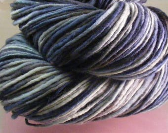SALE... Was 8.50... Now 6.00...The Blue And The Grey...handspun, handpainted wool yarn...4oz...186yd