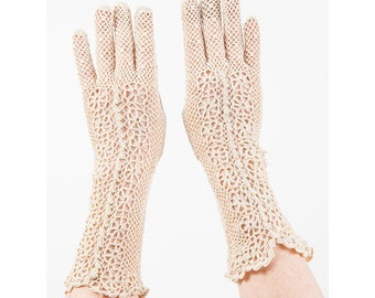 Vintage  hand crochet gloves / 1960s does 1940s / Antique white lace gauntlet length / Off white cotton / Wedding gloves / S