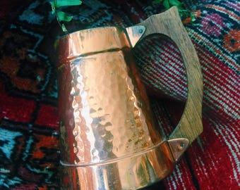 Vintage copper stein, copper mug, vintage copper, made in finland, mid century, wooden handle, 1960s 1970s, handmade, hammered copper, retro
