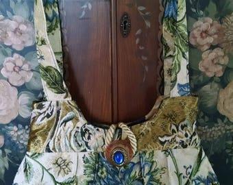 brocade purse bag handmade blue and cream