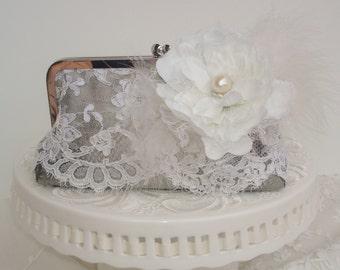 Silver Clutch /  Gatsby / Vintage Wedding / Lace Bridal Clutch / Silver Wedding / Rustic Elegant Wedding