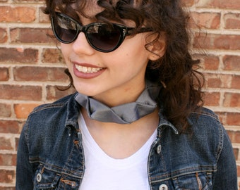 Grey Choker - Gift For Her - Hipster Necklace - Silk Choker - Hipster Clothing -  Grey Isabela Choker. 7