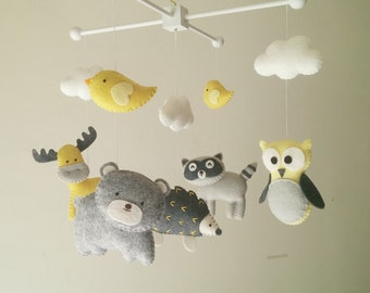 """Baby crib mobile, forest mobile, animal mobile , felt mobile """"Forest friends 14"""" - Raccoon, Owl, Hedgehog, Bear, and Moose"""