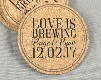 Love is Brewing Cork Coaster Wedding Favors for Guests // Distillery Wedding Favors - Personalize with Names and Date