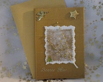 Gold double corrugated card and handmade sheet and envelope