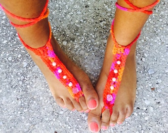 Pink Flowers and Pearls Beach Feet Barefoot Sandals