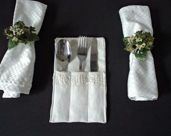 Handmade linen and lace flatware/ silverware/ cutlery holder