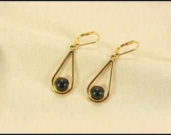 Gold teardrop earrings, Black earrings, Dangle earrings, Teardrop earrings gold, Leverback, 5th anniversary gifts, Black jewelry