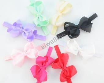Grosgrain Ribbon Hair Bows Headband. Baby Girl Hair Bows Headband, Girls Bow Headband TWH100006