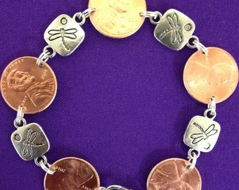 Penny Bracelet with Dragonfly Charm Links