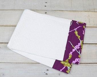 Kitchen Towel, Hand Towel, Tea Towel, Waffle Weave Towel, Dish Towel, Kitchen Hand Towel-Purple Branch