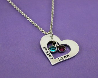 Personalized Mommy Necklace - Heart Washer Birthstone Name Necklace - Mother - Mom - Grandma - Gradmother - Mother's Day Gift - 2 Kids Names
