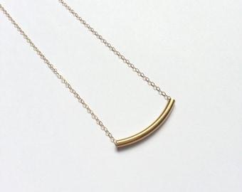 Gold Tube Necklace - 14k Gold Filled