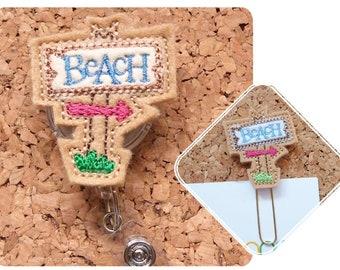 Beach Badge Reel,  Summer Id Card Holder, Retractable Felt Badge Holder, Lanyard, Badge Pull, Gifts for Hospital Staff, 646