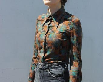 vintage retro big collar tan teal print button-down shirt / blouse