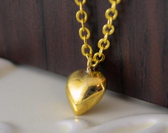 Simple Heart Necklace, Bronze Charm, Valentine's Day, Gold Plated Chain, Romantic Wedding Jewelry