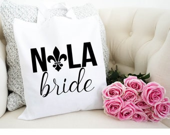 Nola Bride Canvas Tote, Bachelorette Party Tote, Bachelorette Party Favor, Bachelorette Party Gift, Gift Bag, Tote Bag, New Orleans Tote