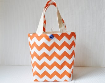 Lunch Bag - Orange Chevron Fabric Bag - Gift Bag - Bridesmaid Gift - Teacher Gift Bag - Custom Bag - Personalized Tote - Washable Lunch Bag