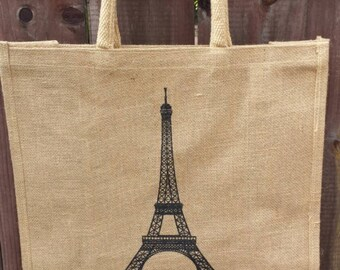 Natural jute tote bag with eiffel tower