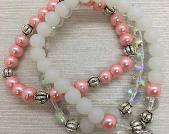 Pink and White Beaded Bracelet Set with Dangling Heart Charm