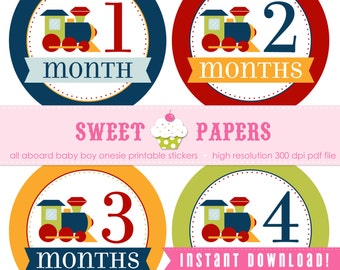 INSTANT DOWNLOAD All Aboard Baby Boy PRINTABLE Milestone Stickers - by Sweet Papers, Train, Choo Choo, Caboose, Red, Navy, Chartreuse