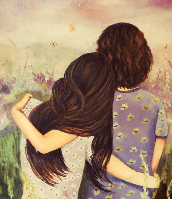 mother and daughter  lavender tones art print