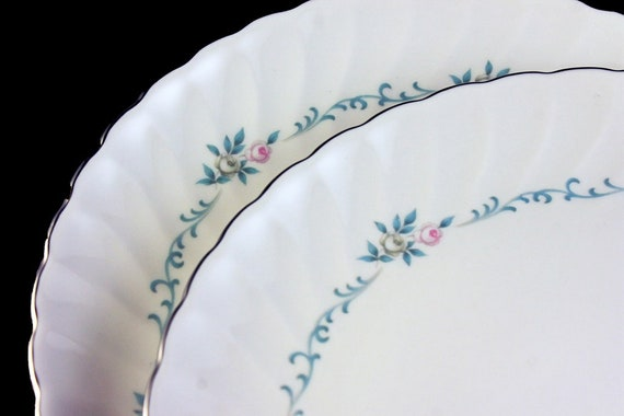 Bread and Butter Plates, Syracuse, Silhouette, Sweetheart, Pink and Gray Roses, Aqua Scrolls, Set of 2, Fine China