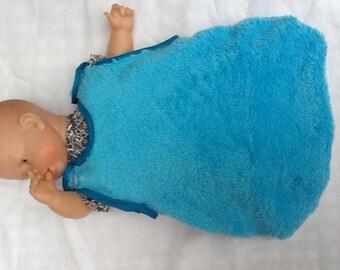 Sleeping bag turquoise fleece doll 30 cm