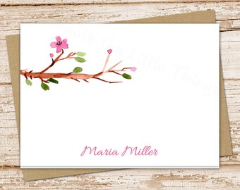 personalized floral stationery . tree branch stationary . watercolor folded note cards . spring flowers notecards . set of 8