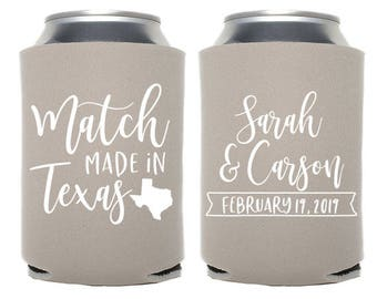 Custom Wedding Favor - Match Made in Texas - Match Made in Any State Can Cooler