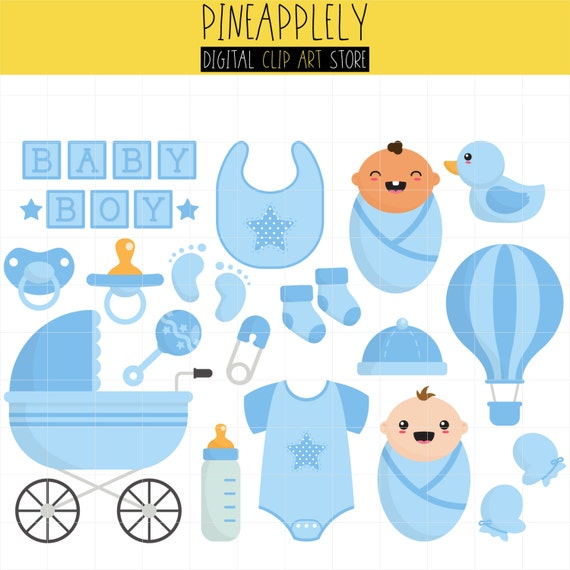 Baby Boy Things Little One Shower New Born Digital Clip Art For Planner Stickers Scrapbooking Journal Pieces From Pineapplely On Etsy Studio