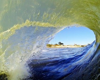 Photo Taken Inside of a Tubing Wave with Mark Abbott Lighthouse in the Background.  Surfing Photography Print
