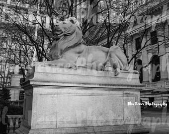 New York Public Library Lion, 42nd Street, Architectural Photography, Black & White, New York City Art, NY Print, Manhattan, Wall Art,