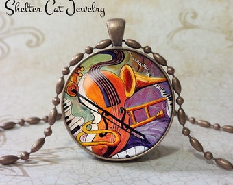 """Violin, Trombone, Keyboards Abstract Necklace - 1-1/4"""" Circle Pendant or Key Ring - Handmade Wearable Photo Art Jewelry- Music Musician Gift"""