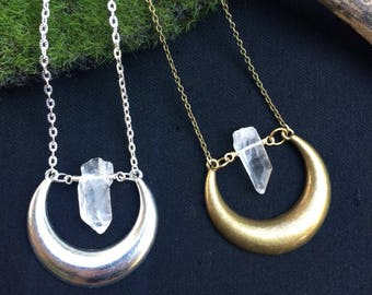 Crystal Moon Necklace, Quartz Crescent Moon Pendant, Silver or Antique Brass Moon and Clear Crystal Quartz Necklace, Moon Phases, Boho
